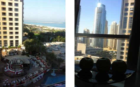 View from my window to the city, the Hotel-Bar and... the beach!