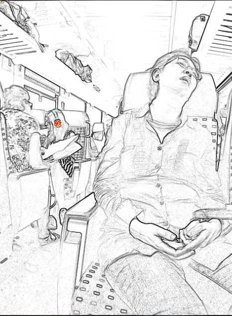 Woman from Asia sleeping and Headphones all around